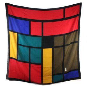YSL Mondrian Color Block Large Scarf